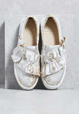 Nude Floral Print Ruffle Trim Trainers