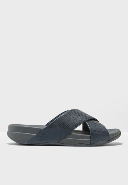 Surfer Slide In Perforated Leather - Urban Grey