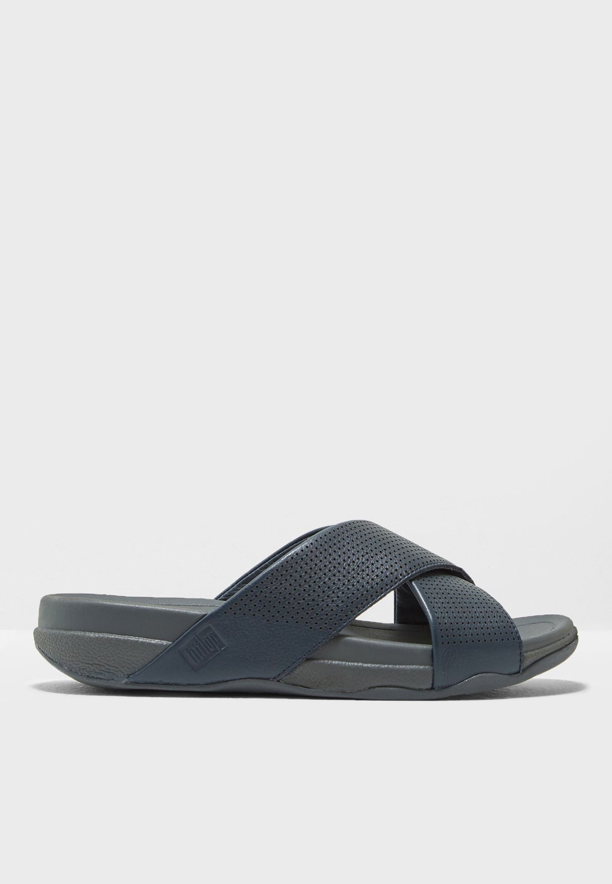 085903f30 Shop Fitflop navy Surfer Slide In Perforated Leather - Urban Grey ...