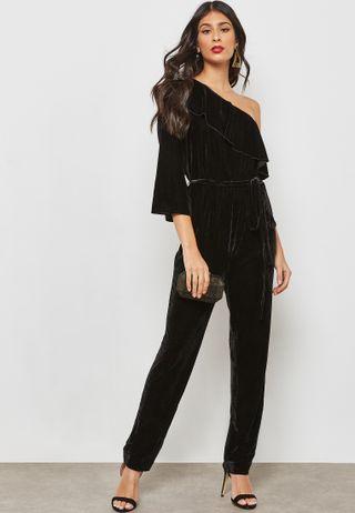 93617e56b11 Shop Ella black Tuxedo Jumpsuit W1830 for Women in Kuwait - EL314AT82VON