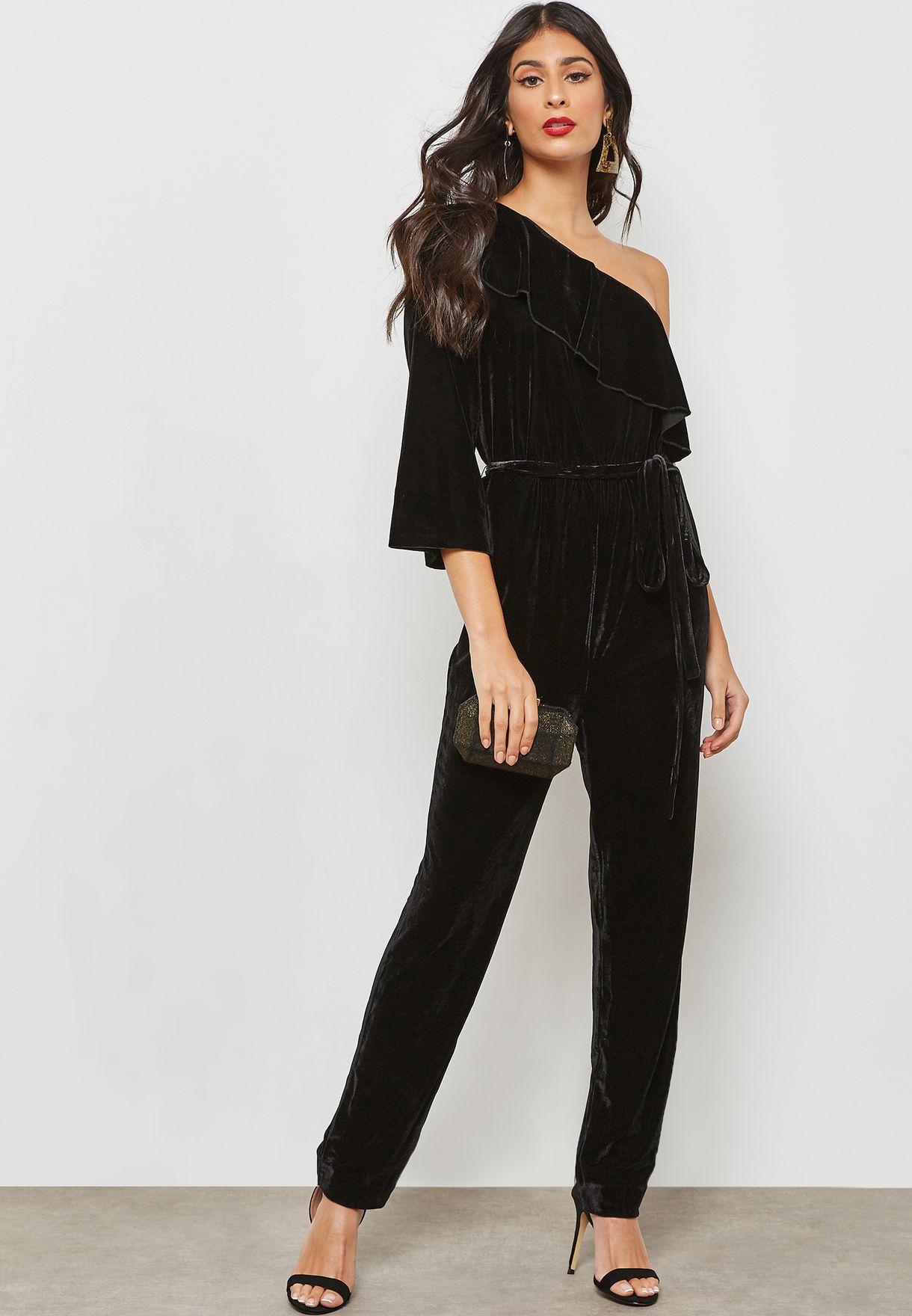 a1a031739e Shop Ginger black Ruffle One Shoulder Velvet Jumpsuit V114 for Women ...