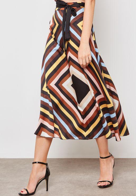 Striped Self Tie Satin Skirt