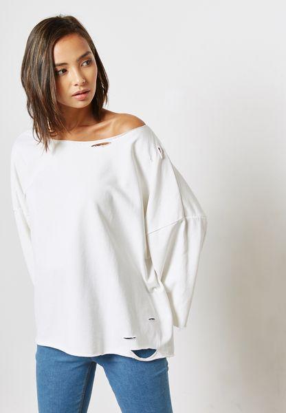 Oversized Ripped Sweatshirt