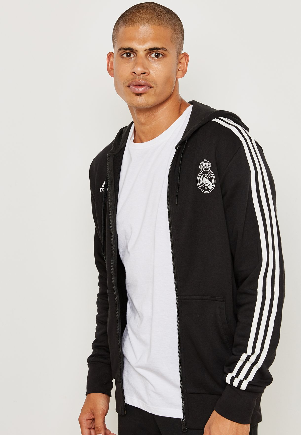 1a4dfa052 Shop adidas black Real Madrid 3 Stripe Hoodie CW8692 for Men in UAE ...