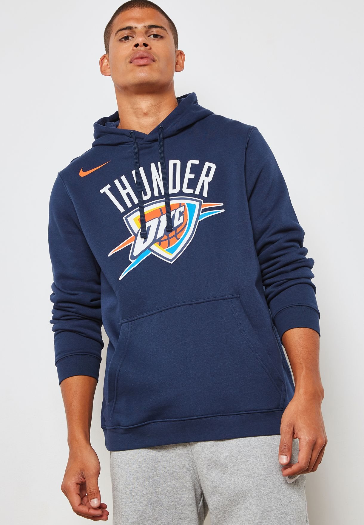 222673c3 Shop Nike navy Oklahoma City Thunder Logo Hoodie AA3685-419 for Men ...