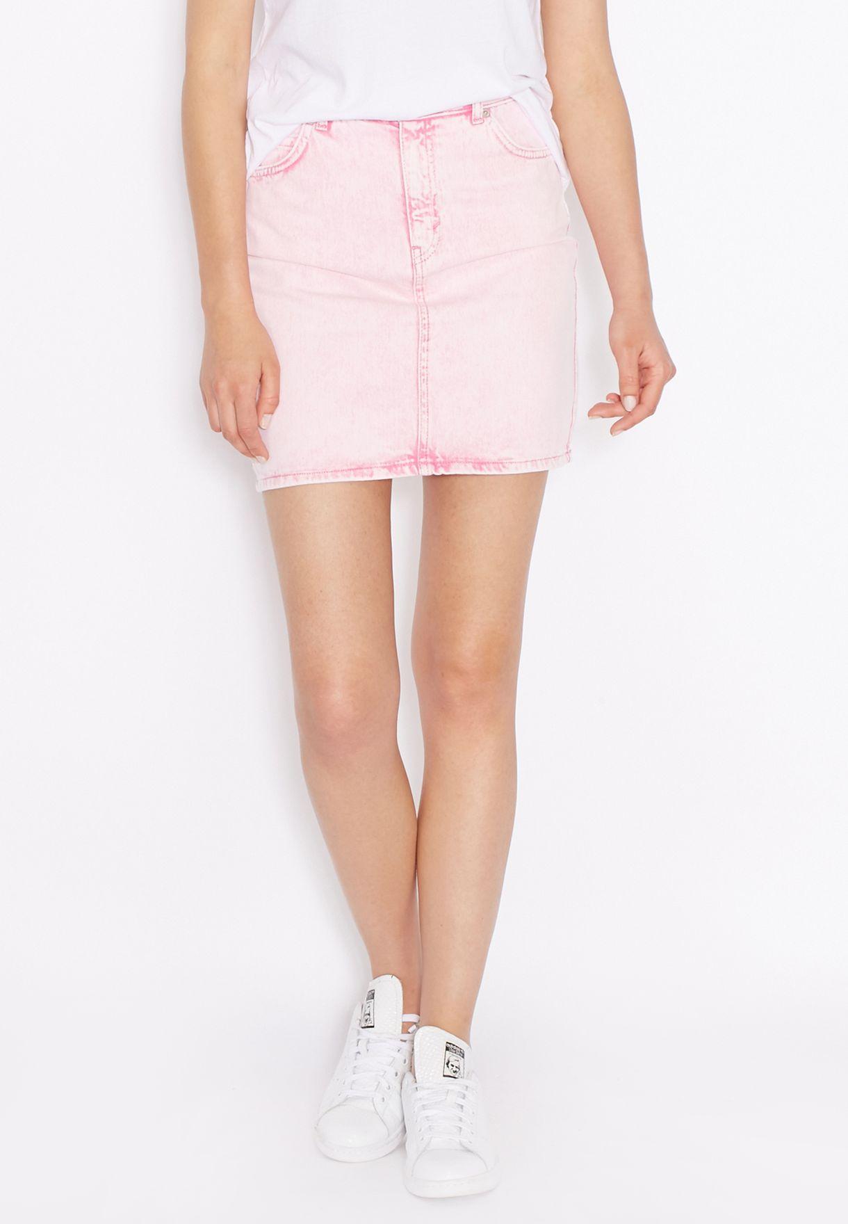 b6ff9119e9 Shop Topshop pink MOTO High Waisted Denim Skirt for Women in Qatar ...