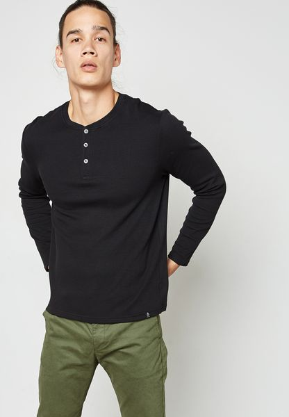 Waffle Grandad Collar T-Shirt