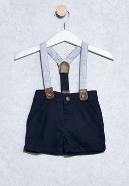 Infant Linen Shorts+Suspender