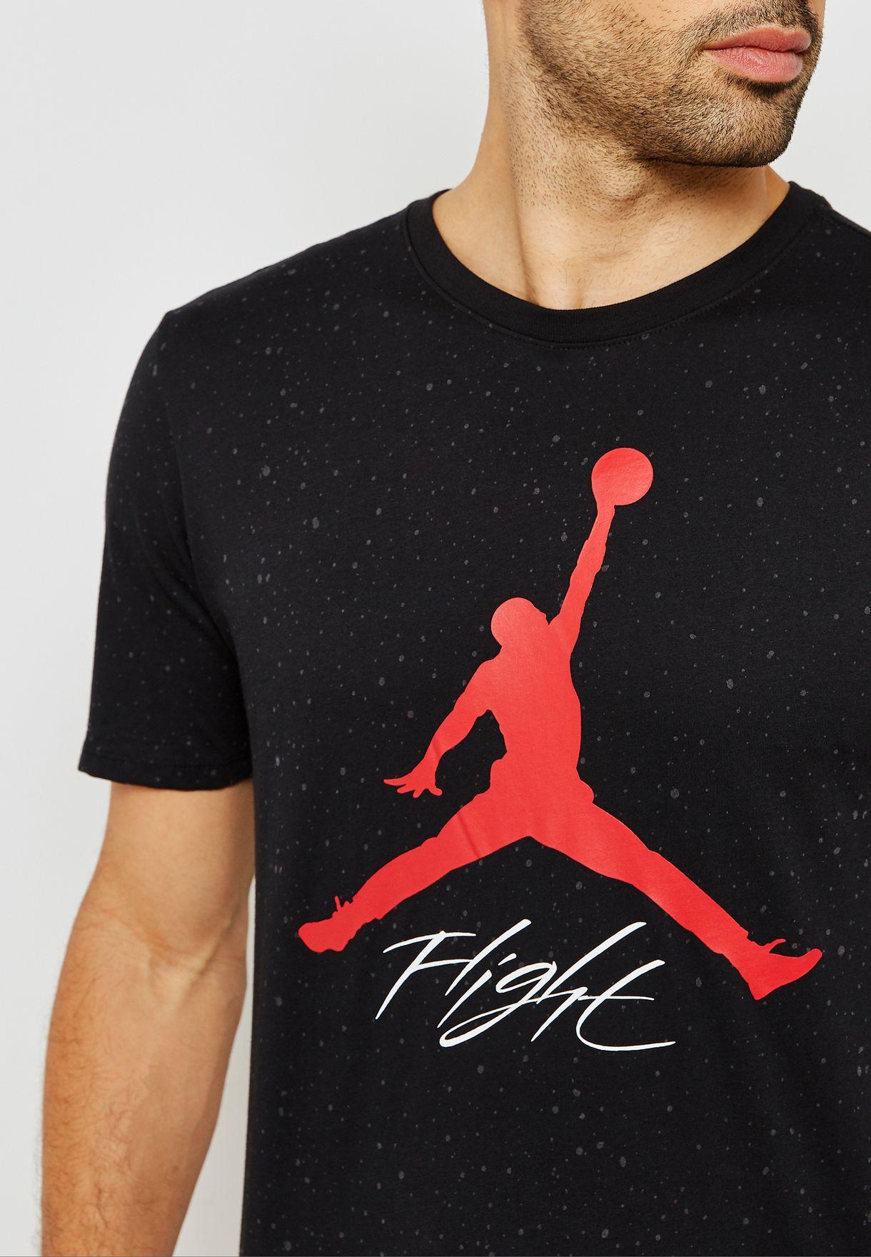 7427fbc021acec Shop Nike black Jordan Jumpman Flight T-Shirt AA1893-010 for Men in ...