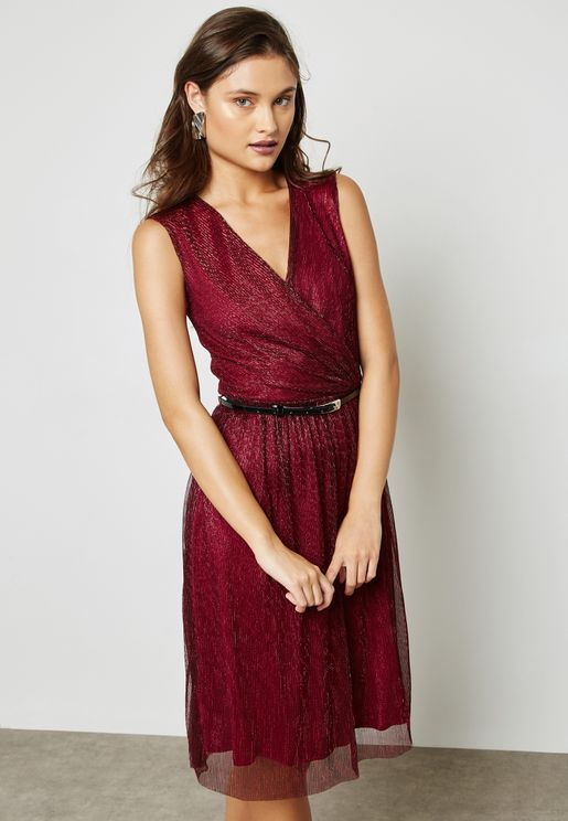 Belted Shimmer Dress