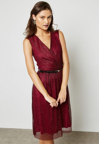 Belted Shimmer Dress