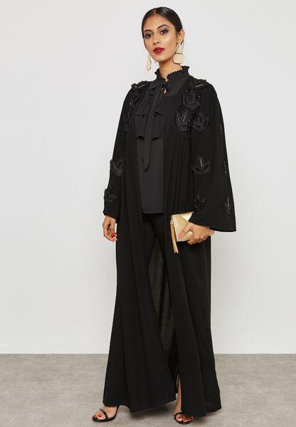 Embroidered Handwork Pleated Abaya