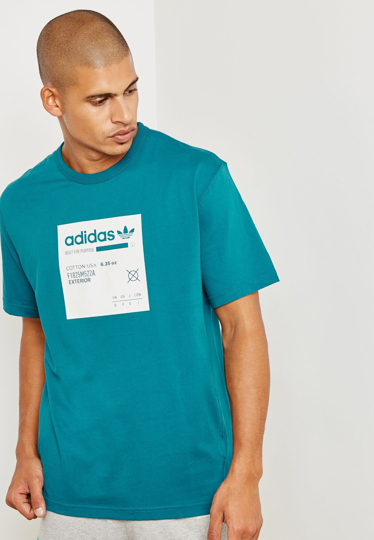12f2e07044a2 Shop adidas Originals green Kaval Graphic T-Shirt DH4945 for Men in ...