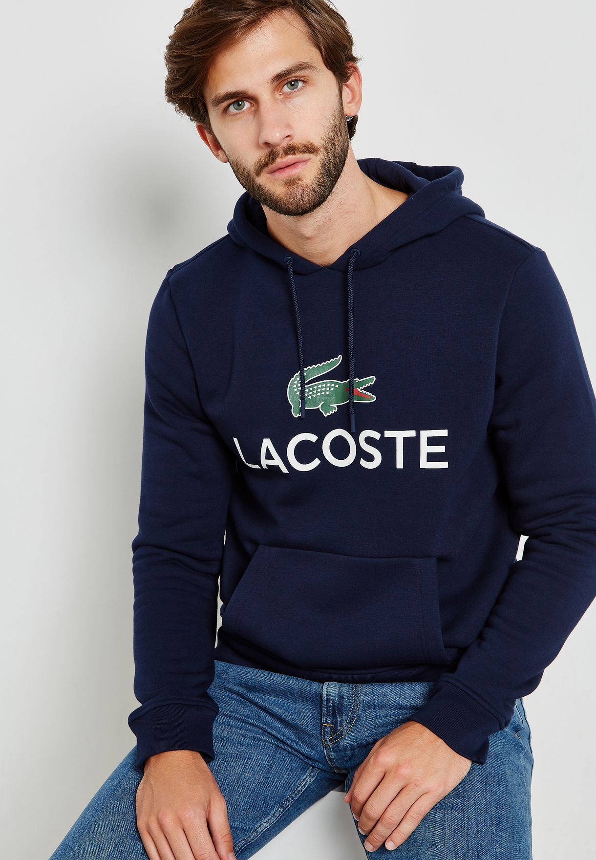 2c33cbedbc52 Shop Lacoste navy Logo Hoodie SH0601-00 166 for Men in UAE ...