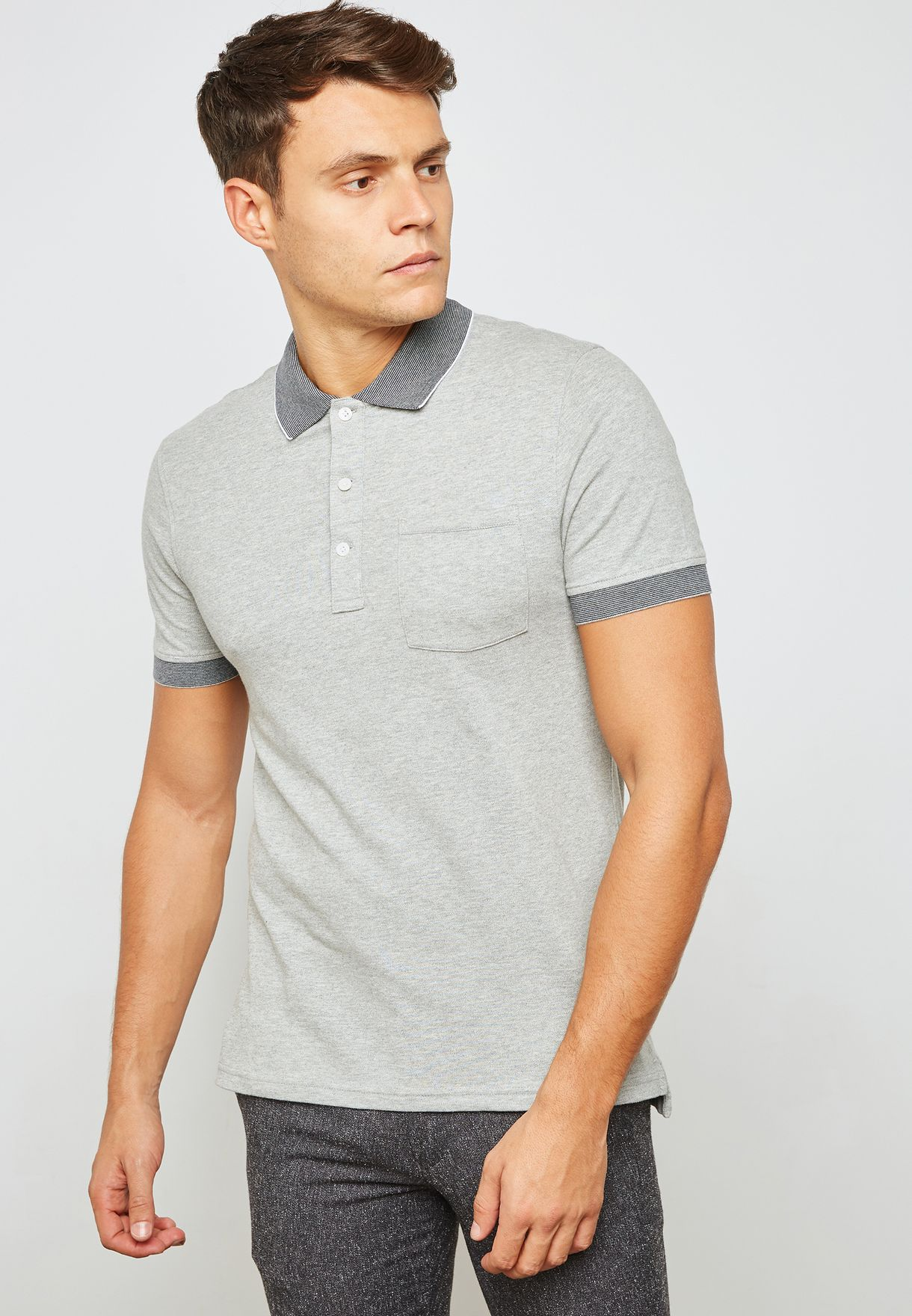 751667574 Shop J.Crew grey Classic Pique Polo J6937 for Men in UAE - JC720AT59MWI