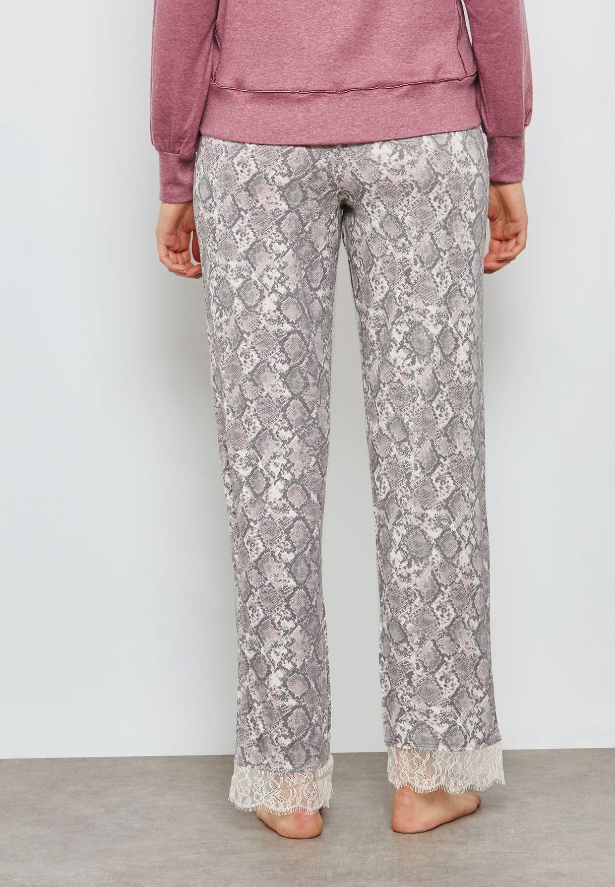 97cc6cefaa88 Shop New Look prints Pink Snake Print Lace Trim Pyjama Bottoms ...