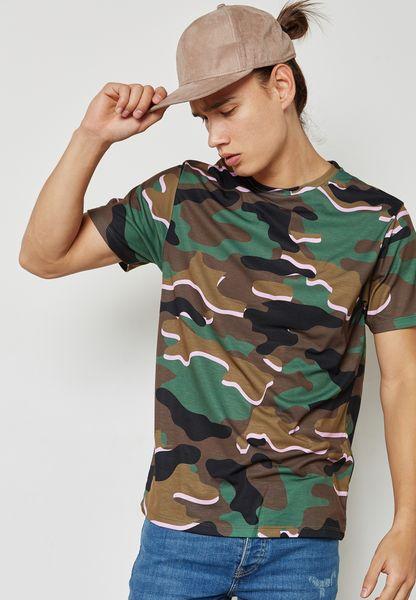 Camo Print Crew Neck T Shirt