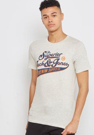 0f58e5cb00fe2a Jack   Jones. Logo Crew Neck T-Shirt