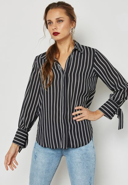 Tie Sleeve Striped Shirt