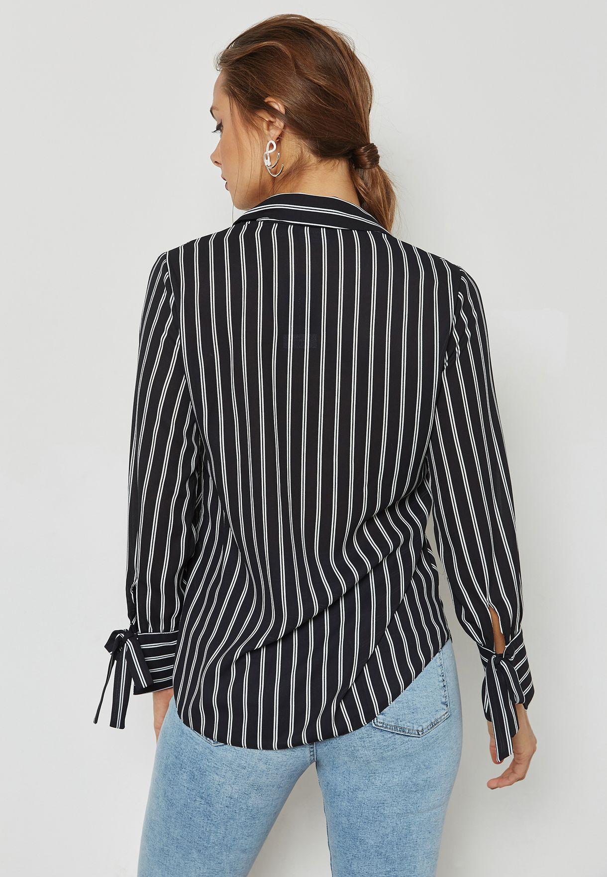 Tie Sleeve Striped Shirt