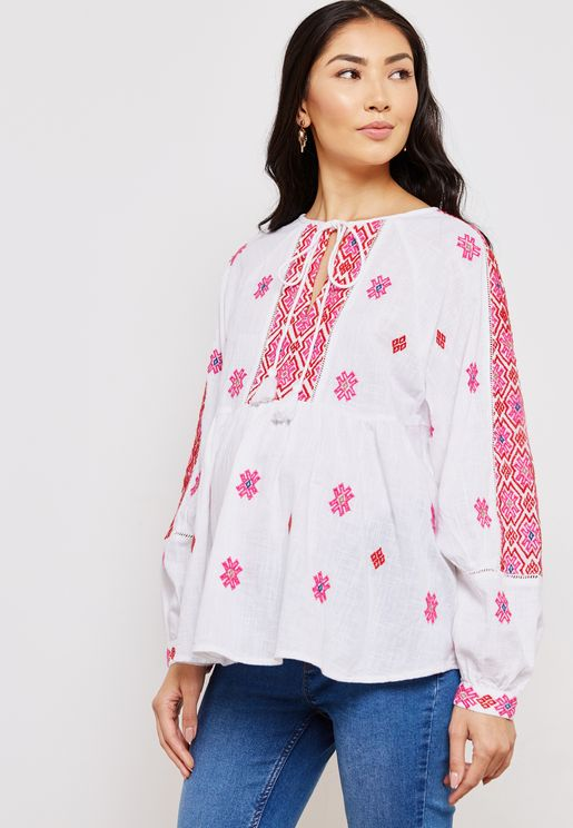 Tie Neck Embroidered  Smock Top