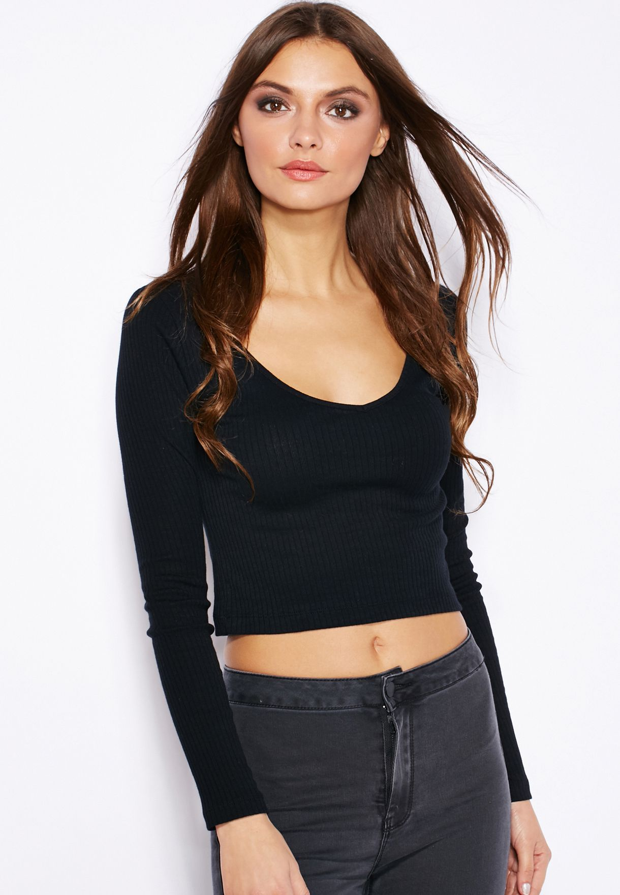 dbbb44358e7f9b Shop Topshop black V-Neck Ribbed Top for Women in UAE - TO856AT49GOW