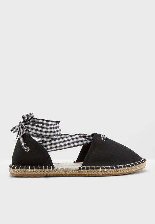 Gingham Tie Up Espadrille