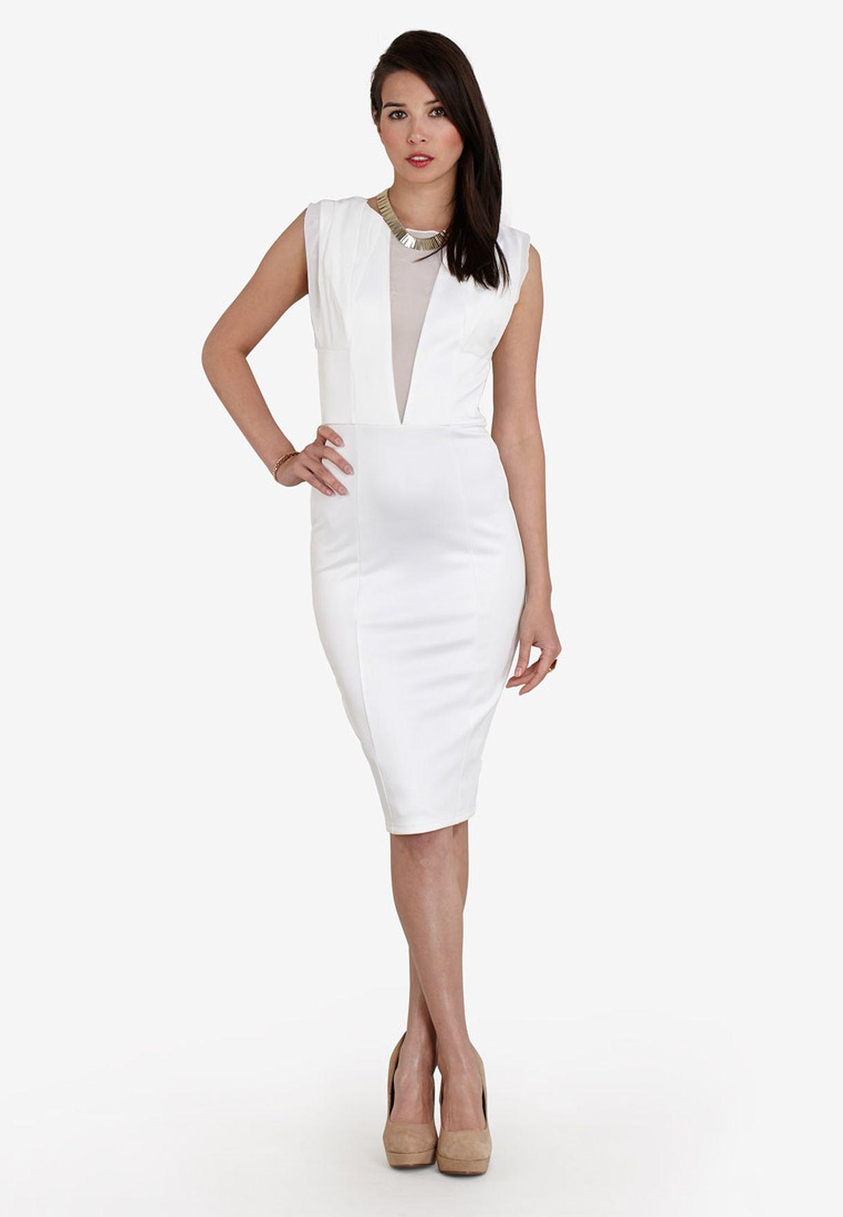 c1d6bf0e72e4b Shop Ax paris white Mesh Front Midi Dress for Women in Oman ...