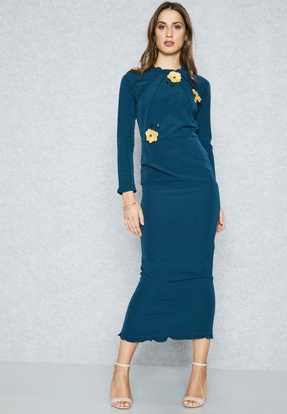 Flower Applique Ruffle Trim Dress