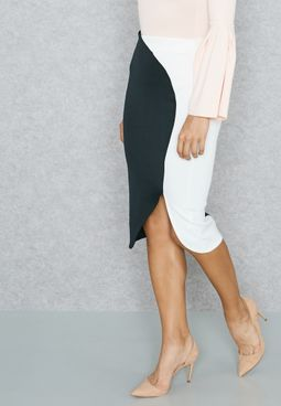 Colourblock Front Slit Skirt