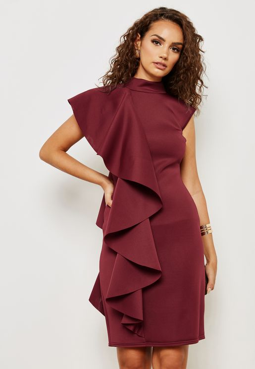 One Side Ruffle Dress