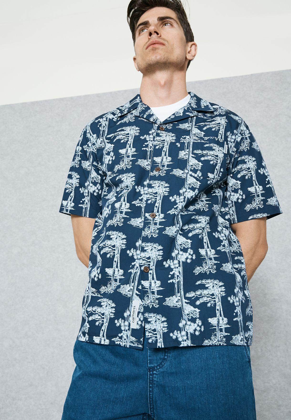 a3e99127 Shop Carhartt WIP prints Pine Hawaii Shirt I022943 for Men in ...