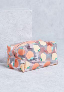Peach Print Clear Makeup Bag