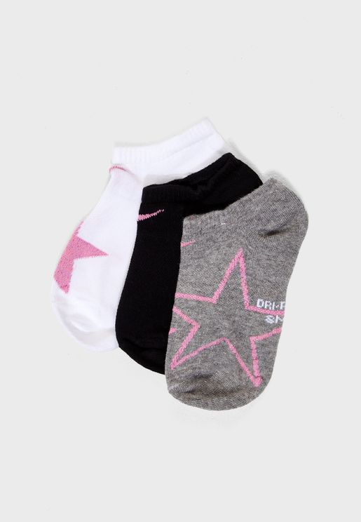 Youth 3 Pack No Show Socks
