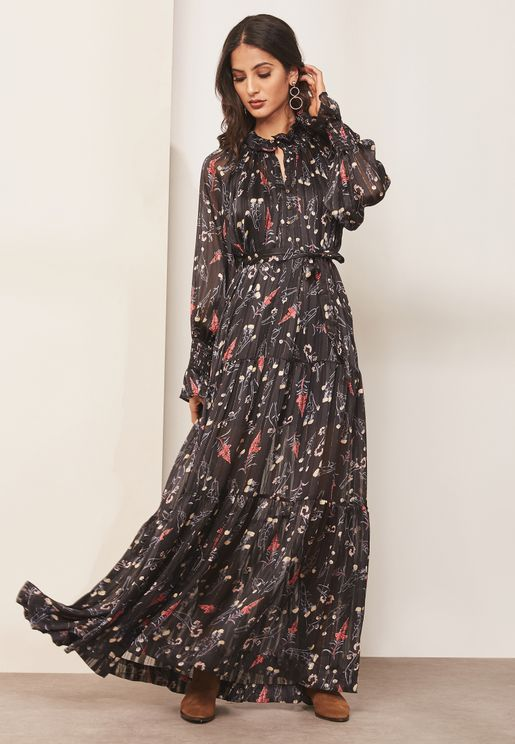 Printed Key Hole Maxi Dress