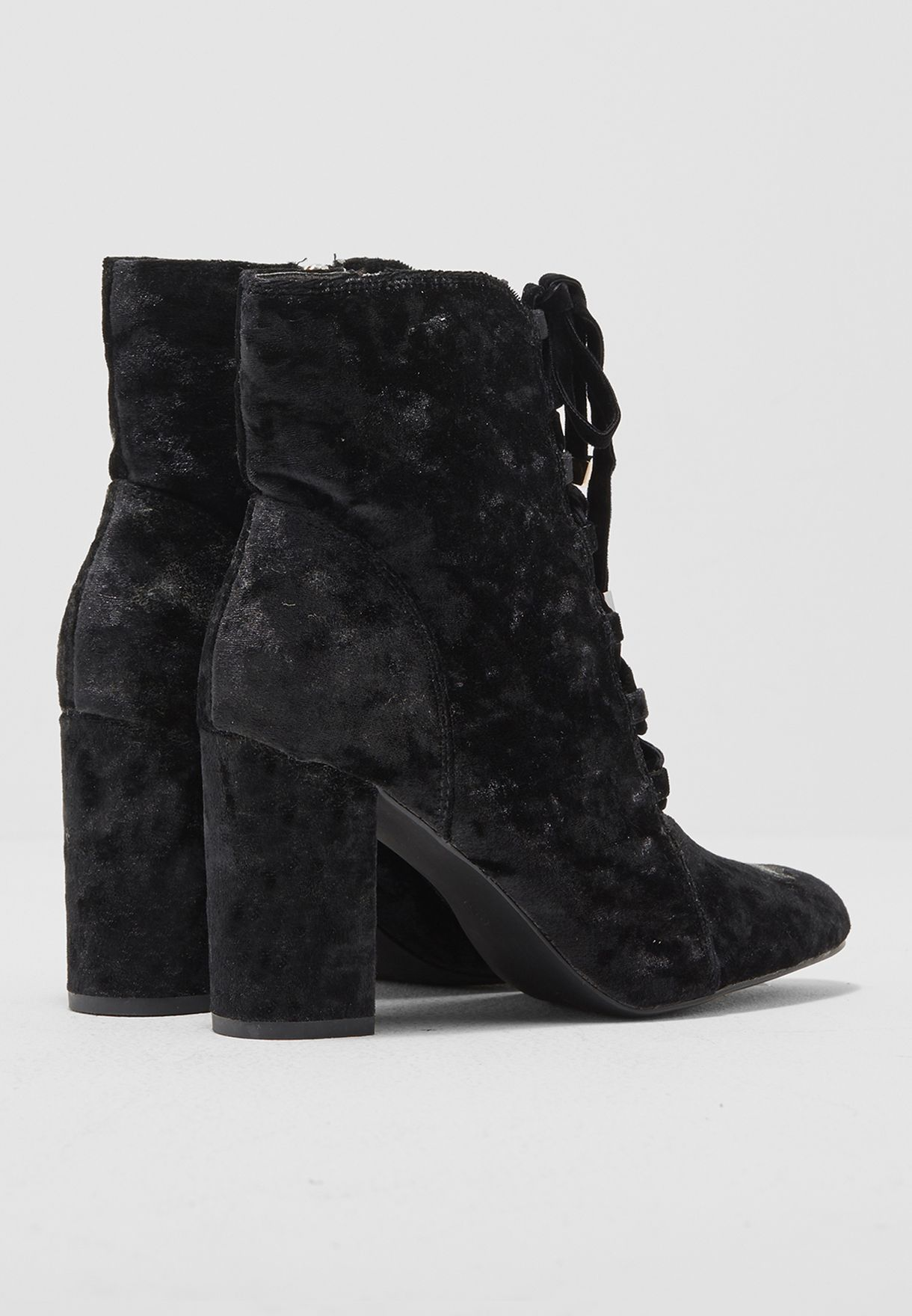 Textured Lace Up Velvet Ankle Boots