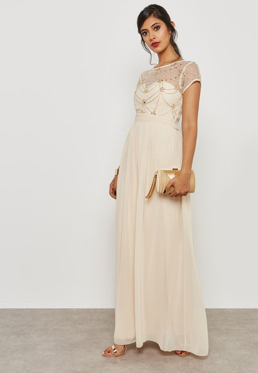 Embellished Detail Pleated Maxi Dress