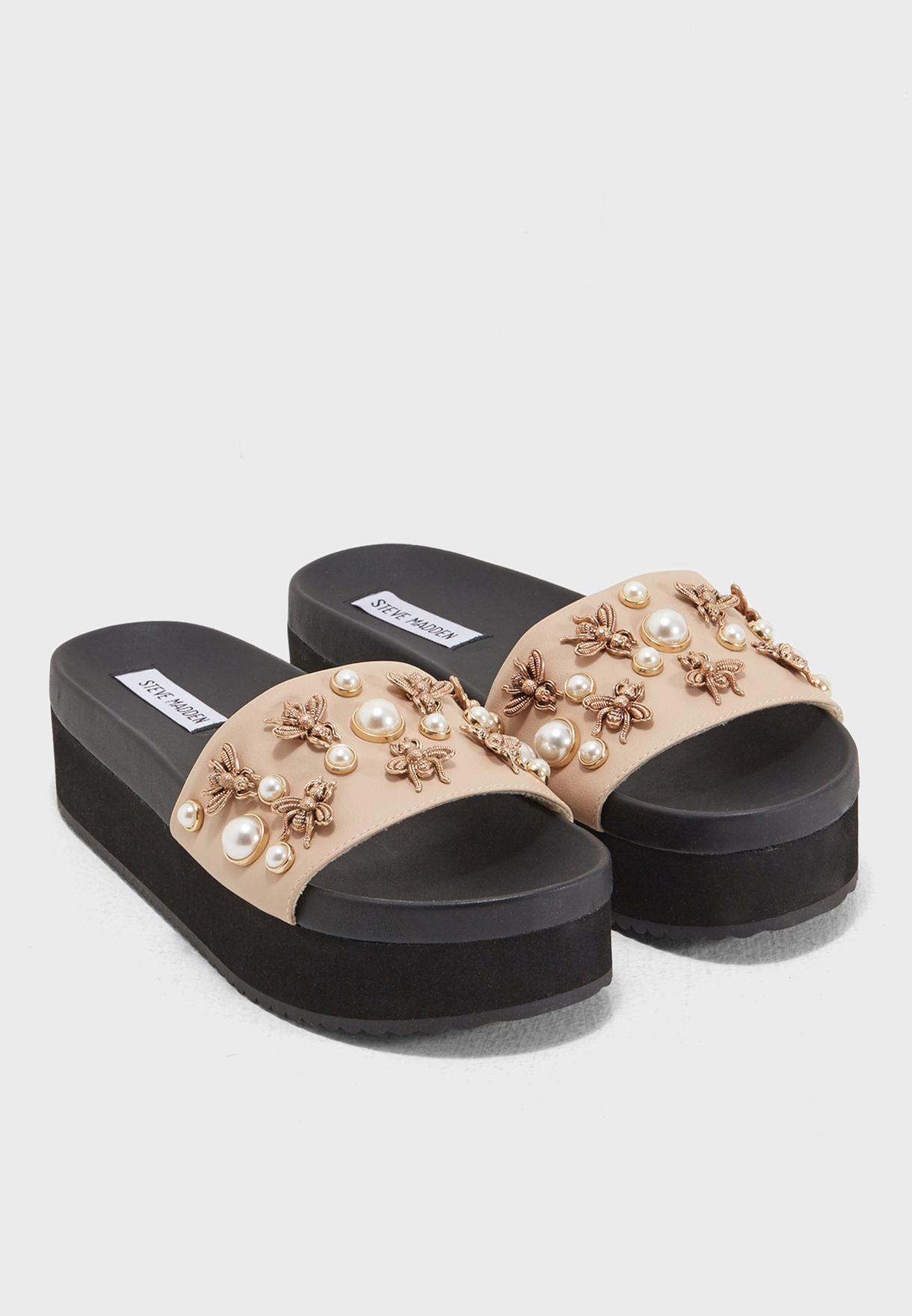 2e830f91393 Shop Steve Madden beige Adorn Flat Sandals ADORN for Women in Bahrain -  ST977SH49OOC