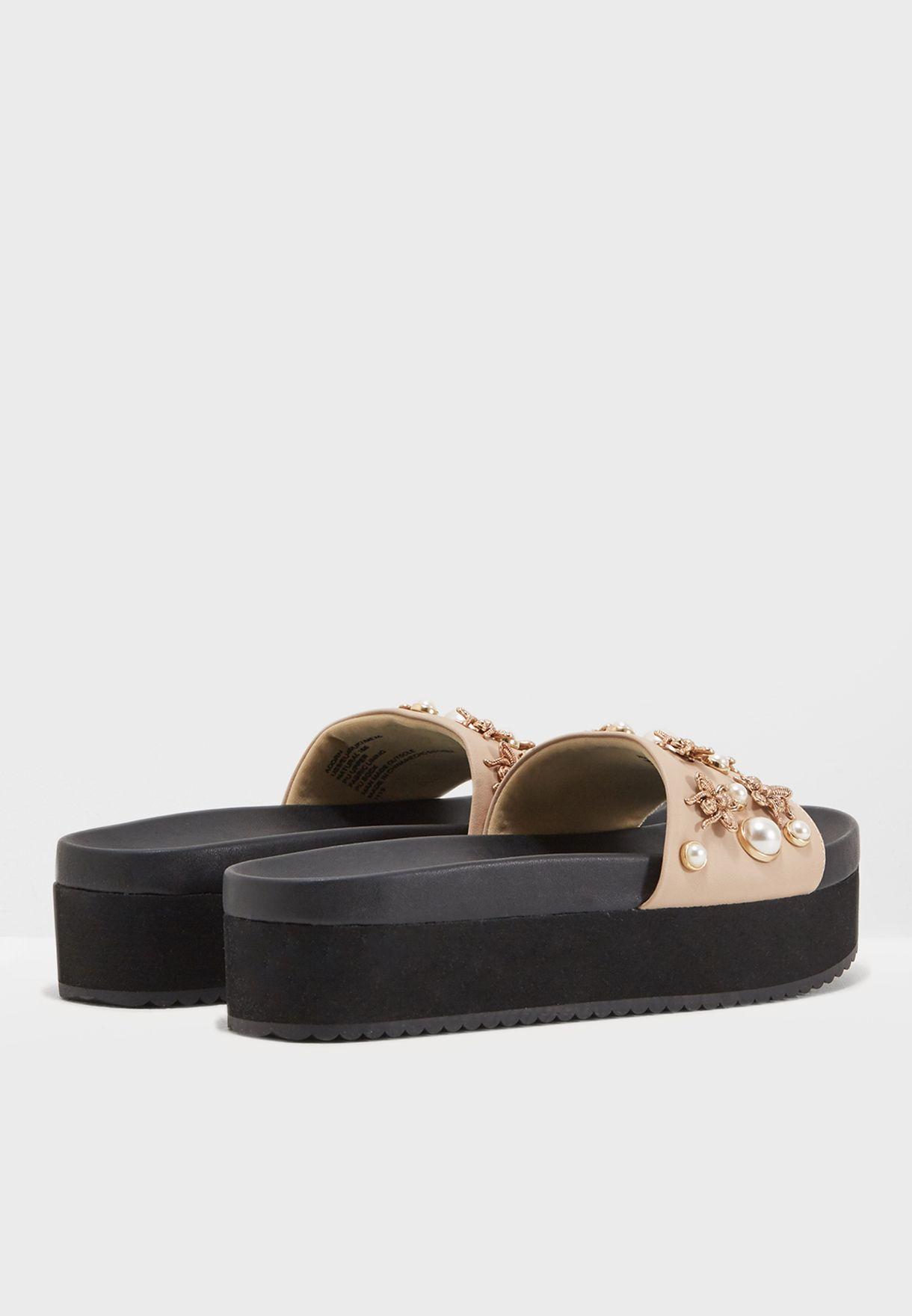 f0c86bb7e58 Shop Steve Madden beige Adorn Flat Sandals ADORN for Women in ...