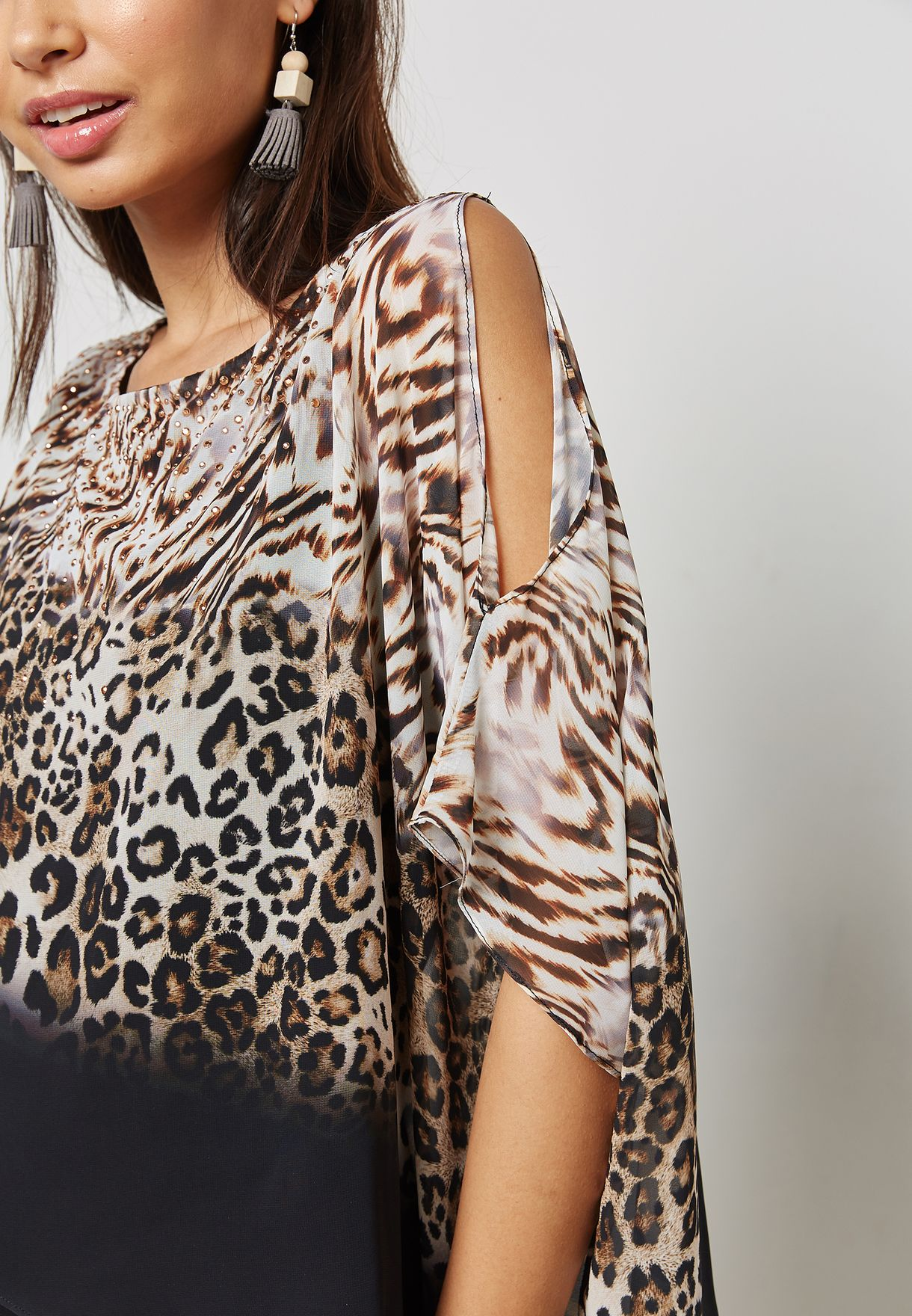 Animal Print Embellished Layered Top