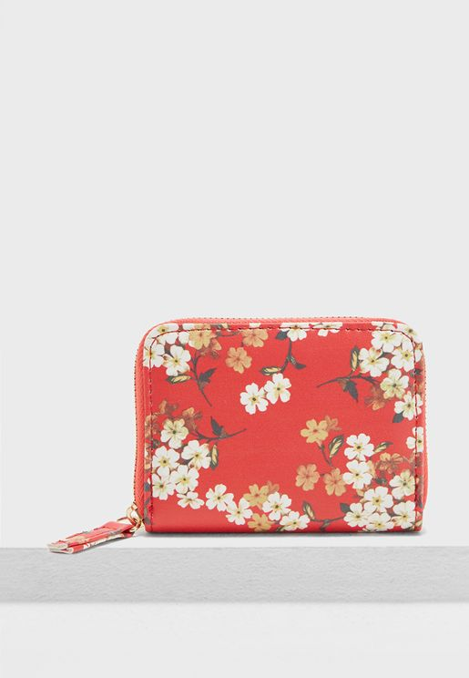 Ditsy Floral Print Zip Top Card Holder