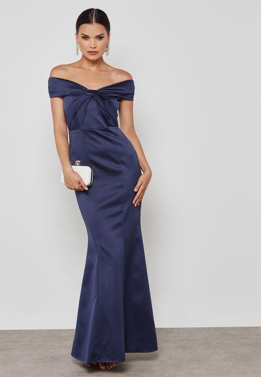 Crossover Bardot Maxi Dress