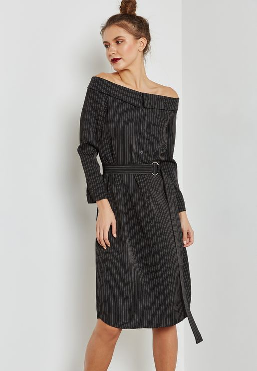 Striped Belted Bardot Dress