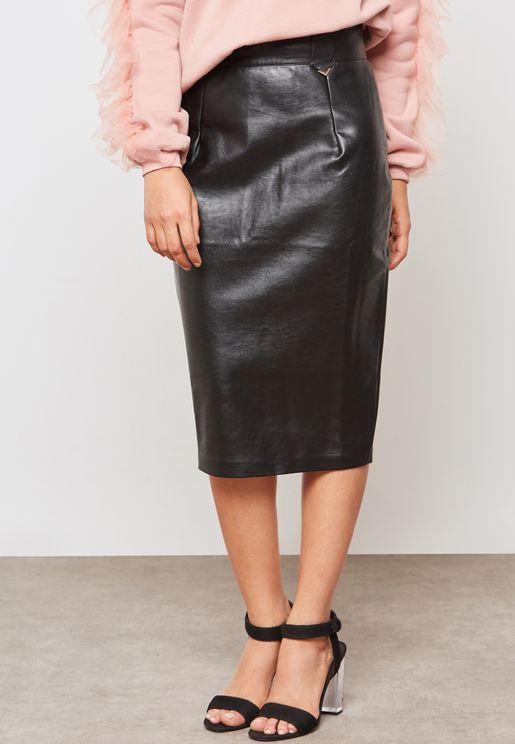Leather Look High Waist Midi  Pencil Skirt