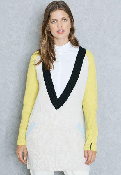 Colour Block Plunge Sweater
