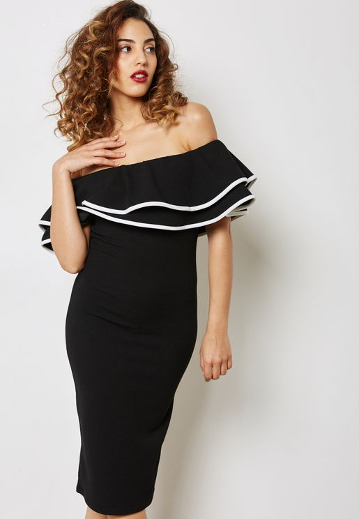 Tiered Ruffle Bardot Dress