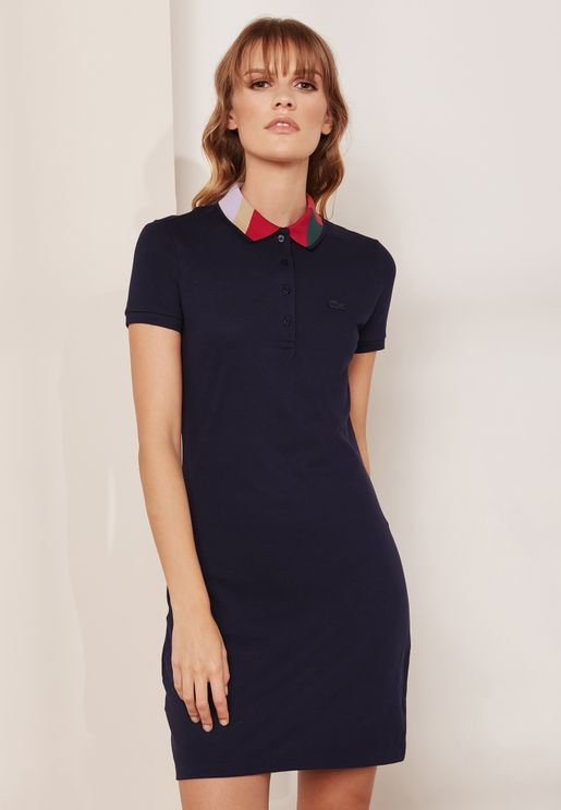 Contrast Color Polo Dress