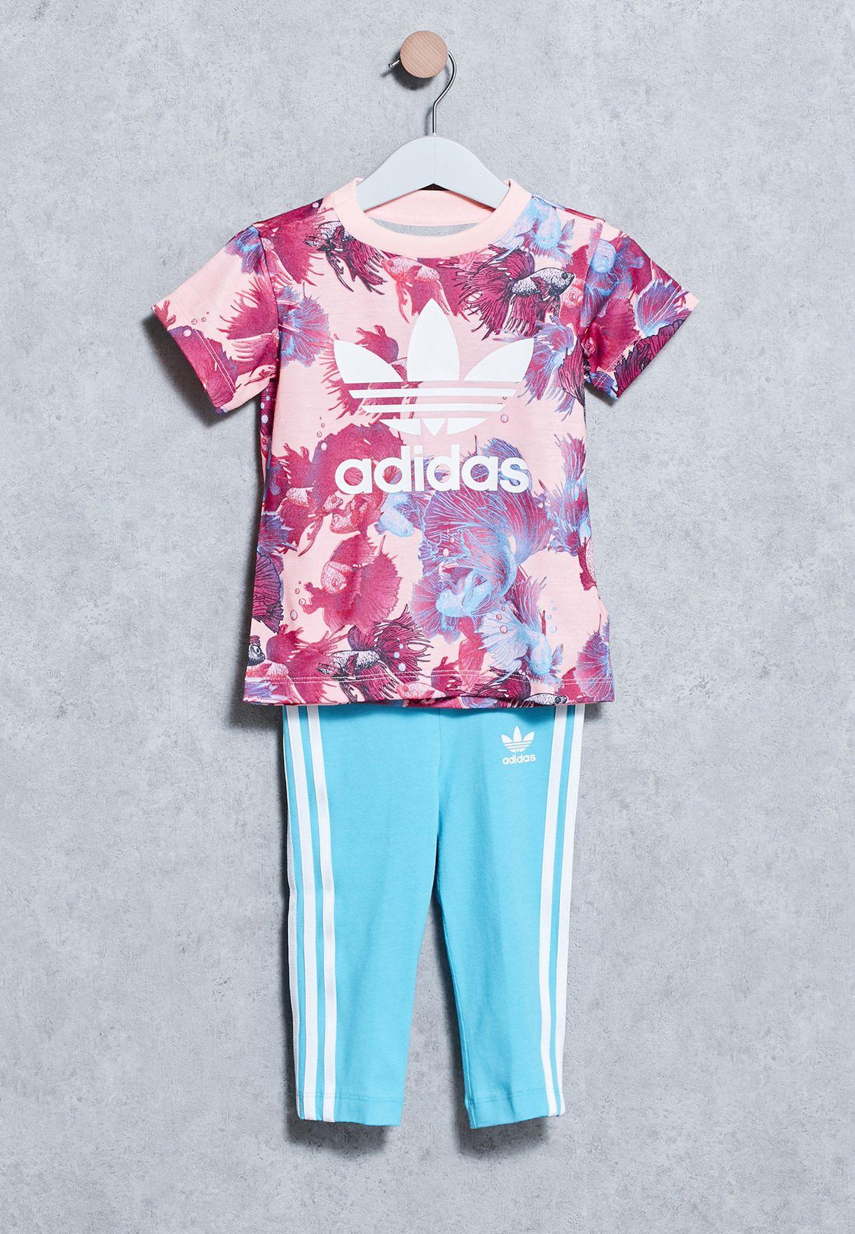 4be1bde22a2e9 Shop adidas Originals multicolor Infant Aqua T-Shirt + Leggings Set ...