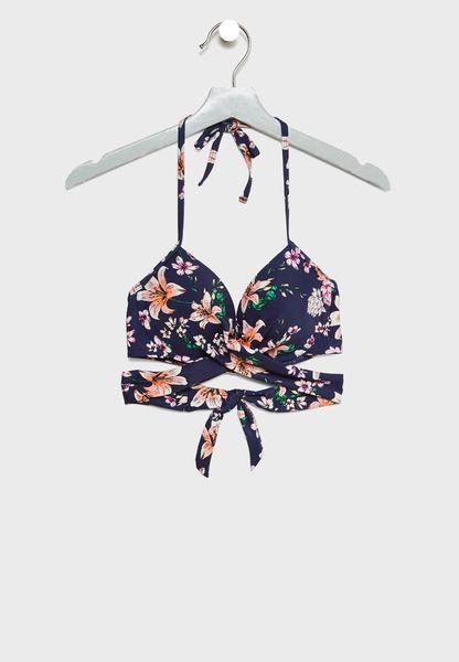 Cupped Printed Strappy Bikini Top