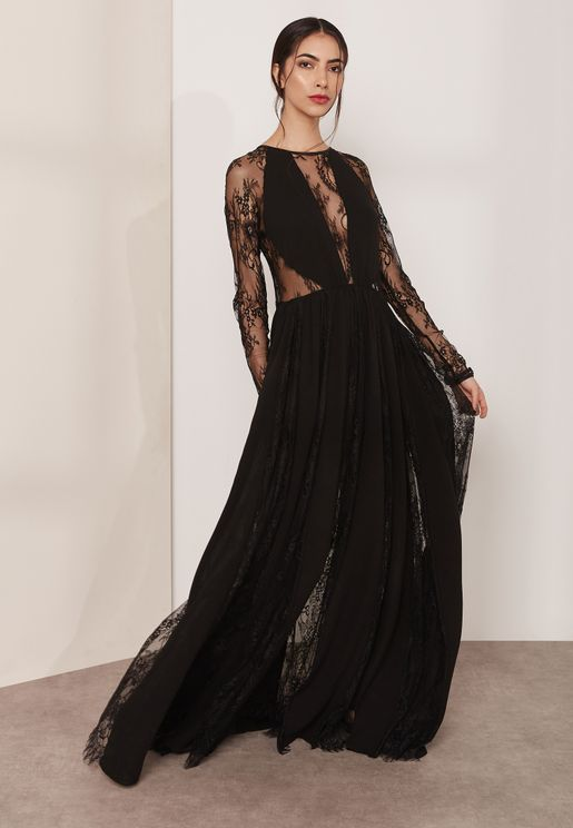Sheer Sleeve Lace Maxi Dress